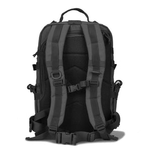 BOW-TAC tactical backpacks - Black 34L molle bug out backpack - Back view