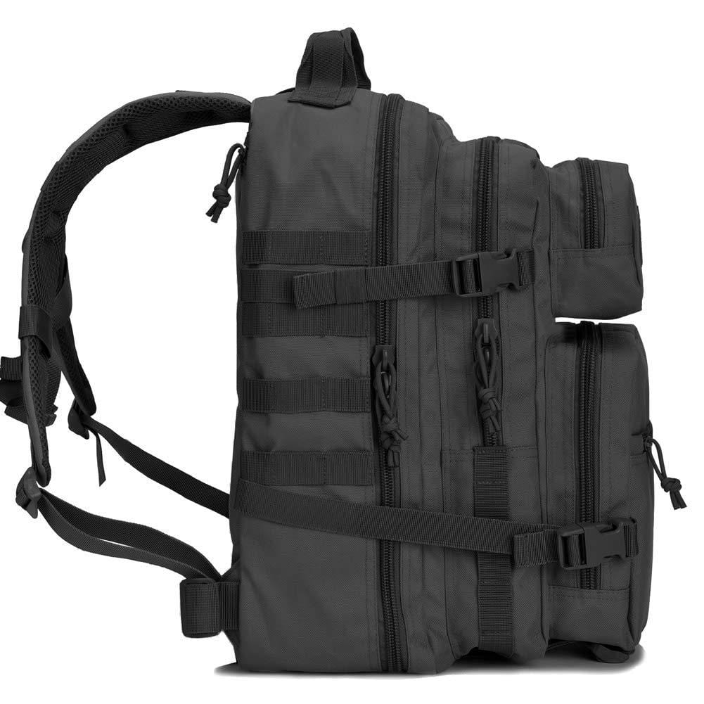 BOW-TAC tactical backpacks - Black 34L tactical backpack with gun holster - Side view