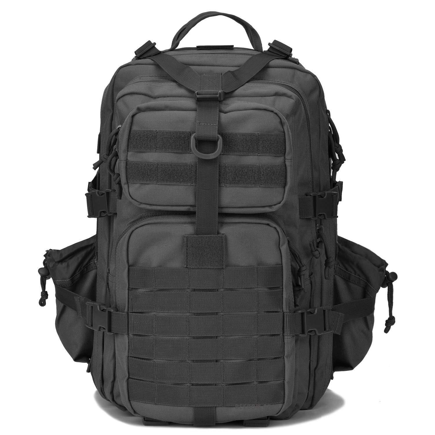 BOW-TAC tactical backpacks - Black 34L molle bug out backpack - Front view without flag