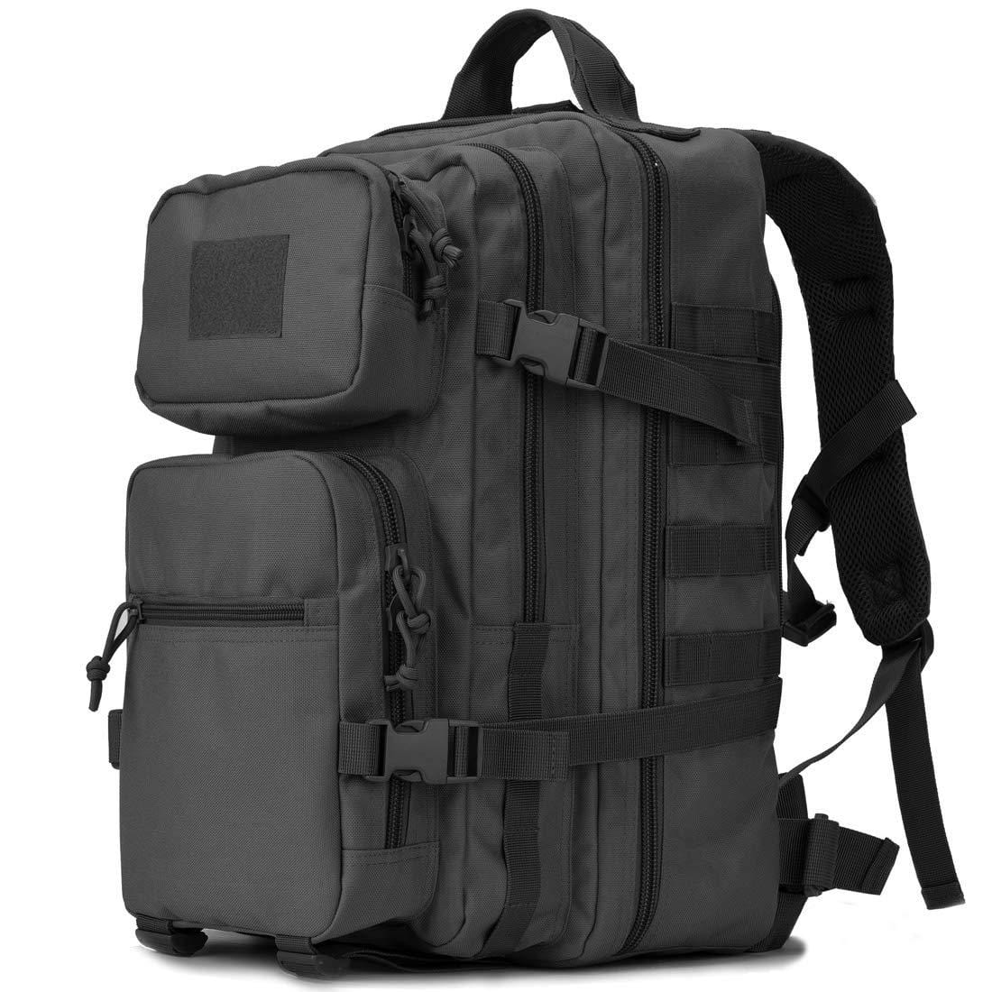BOW-TAC tactical backpacks - Black 34L tactical backpack with gun holster - Main view