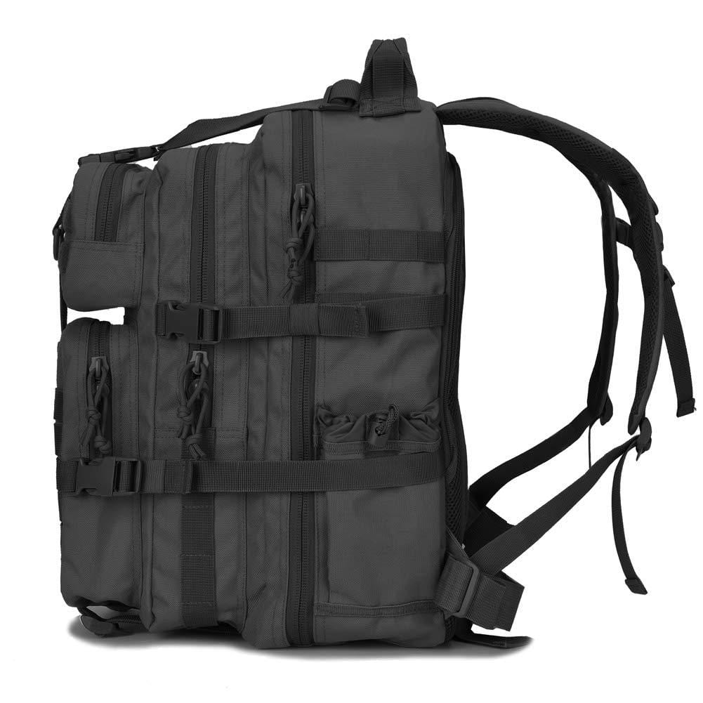 BOW-TAC tactical backpacks - Black 34L molle bug out backpack - Side view