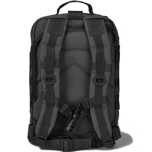 BOW-TAC tactical backpacks - Black 34L tactical backpack with gun holster - Back view