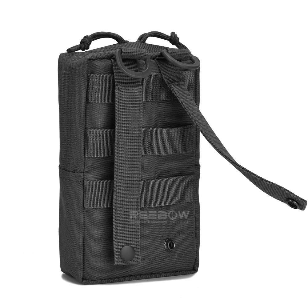 BOW-TAC tactical bags - Black tactical molle pouch - Back view