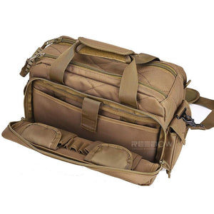 BOW-TAC tactical bags - Brown gun range bag - Front open view