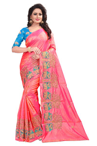 Dashing Pink Cotton Silk Saree