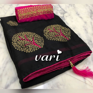 Adorable Black Design Sana Silk with embroidery work Saree