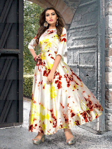 Celebrity Style Cream Cotton Designer Kurti