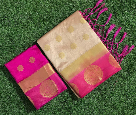 Admirable White And Pink Tussar Raw silk Grand Pallu and with full body annam butta Designer saree