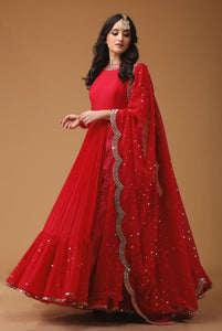 Fabulous Red Georgette Foil mirror less Designer Gown.