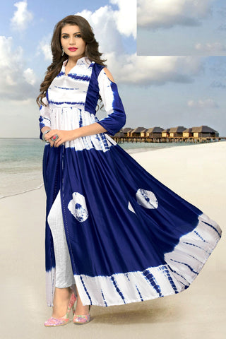 Dazzling Navy Blue Cotton Designer Kurti