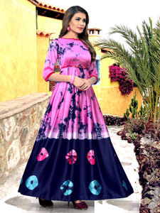 Admirable Baby Pink And Navy Blue Cotton Designer Kurti