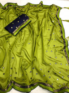 Amazing Green Heavy Vichitra Silk Embroidery On Flexible Mirror Tikli & Richly Saree
