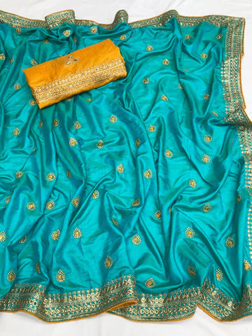 Admirable Rama Heavy Sana Silk Embroidery Work Enhanced By Stone & Piping Throughout Saree