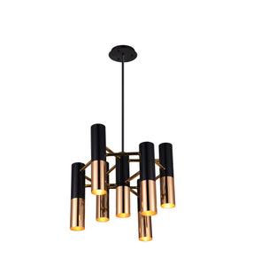 7 Light Down Chandelier with Matte Black & Satin Gold finish