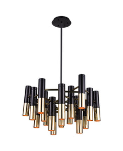 19 Light Down Chandelier with Matte Black & Satin Gold finish