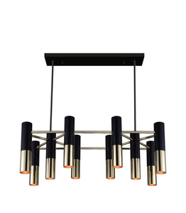 10 Light Down Chandelier with Matte Black & Satin Gold finish
