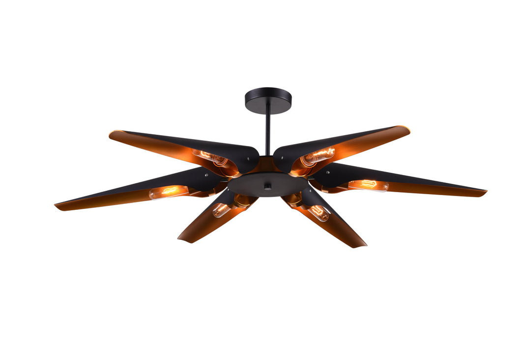 6 Light  Chandelier with Matte Black finish