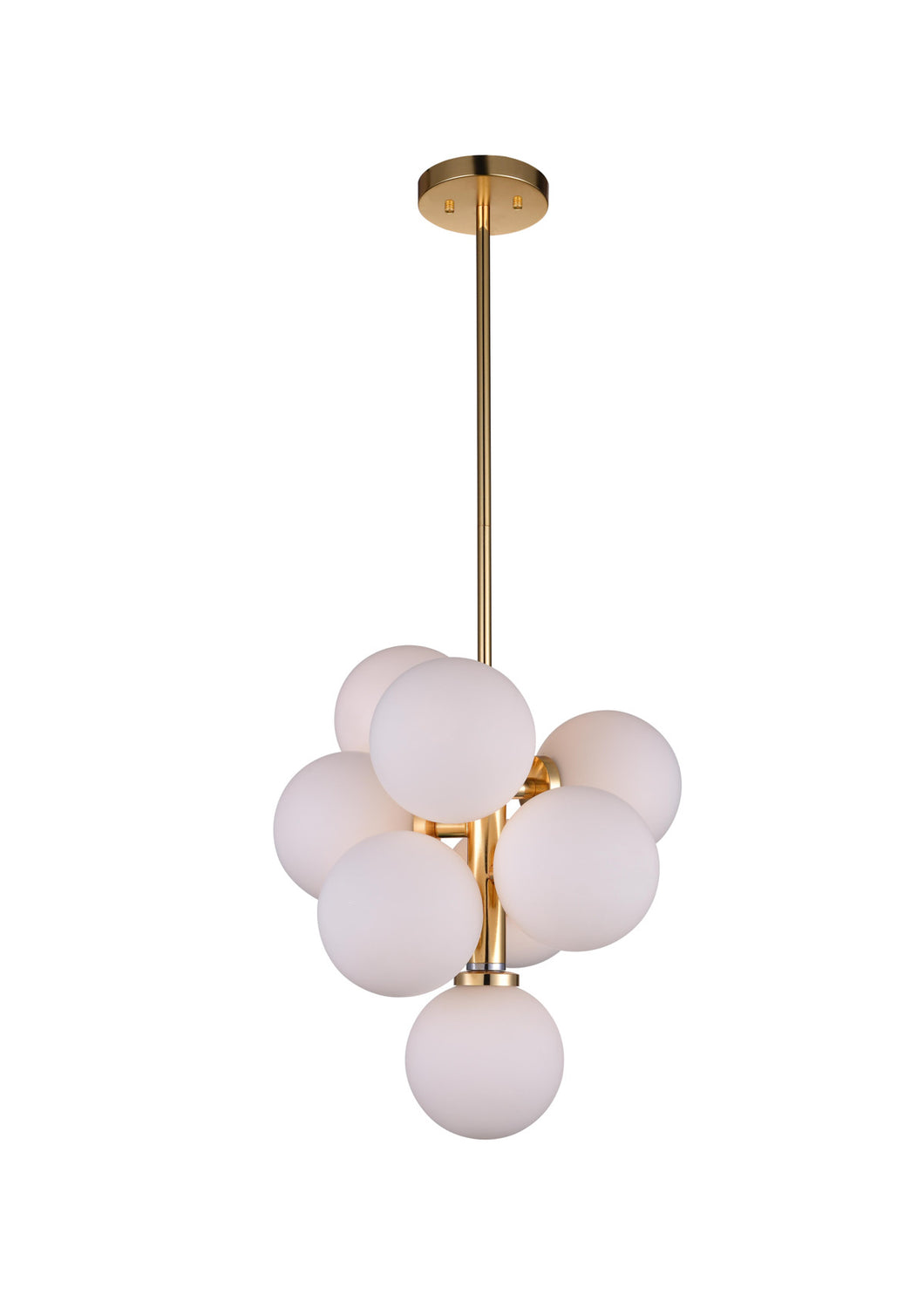 8 Light  Pendant with Satin Gold finish