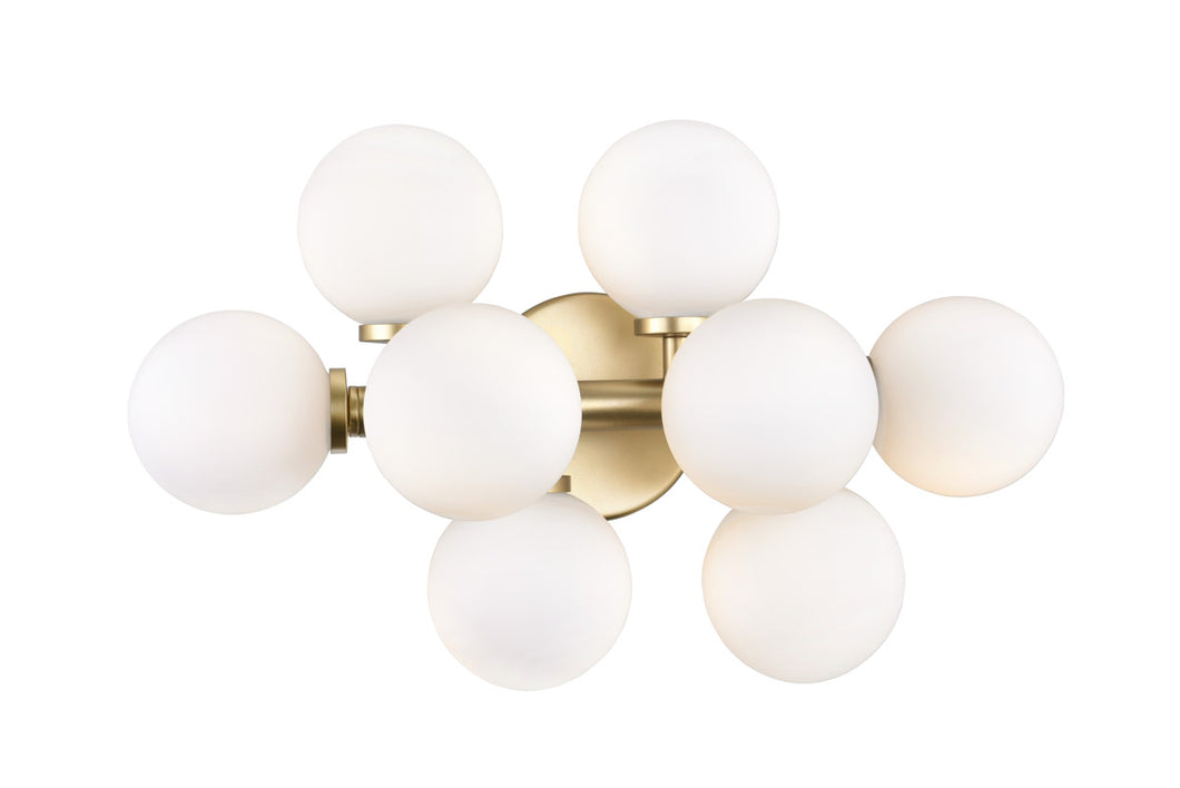 8 Light Wall Sconce with Satin Gold finish