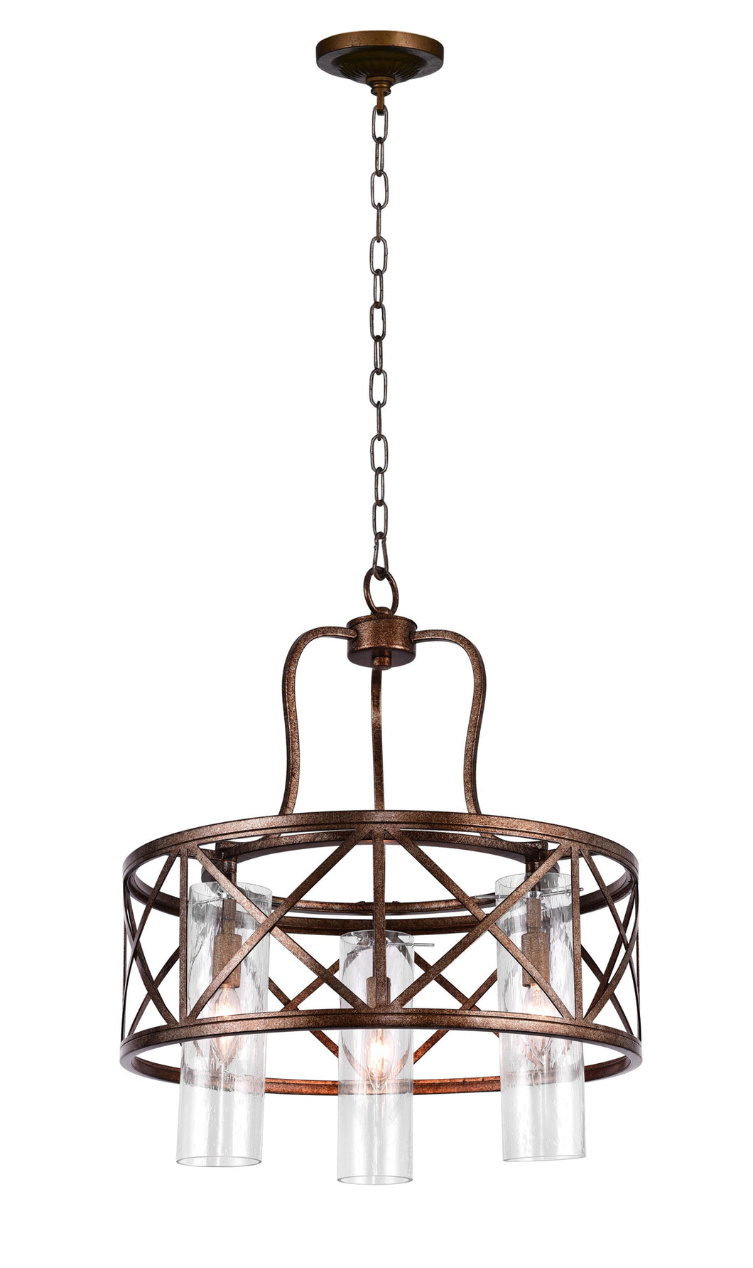 3 Light Chandelier with Wood Grain Bronze Finish