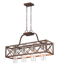 Load image into Gallery viewer, 4 Light Chandelier with Wood Grain Bronze Finish