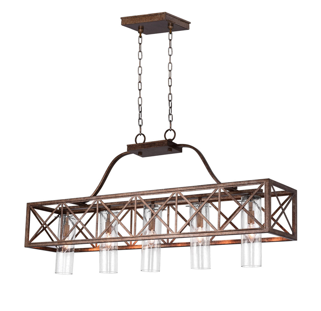 5 Light Chandelier with Wood Grain Bronze Finish
