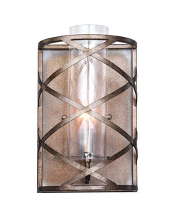1 Light Wall Sconce with Wood Grain Bronze Finish