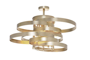 5 Light Flush Mount with Gold Leaf Finish