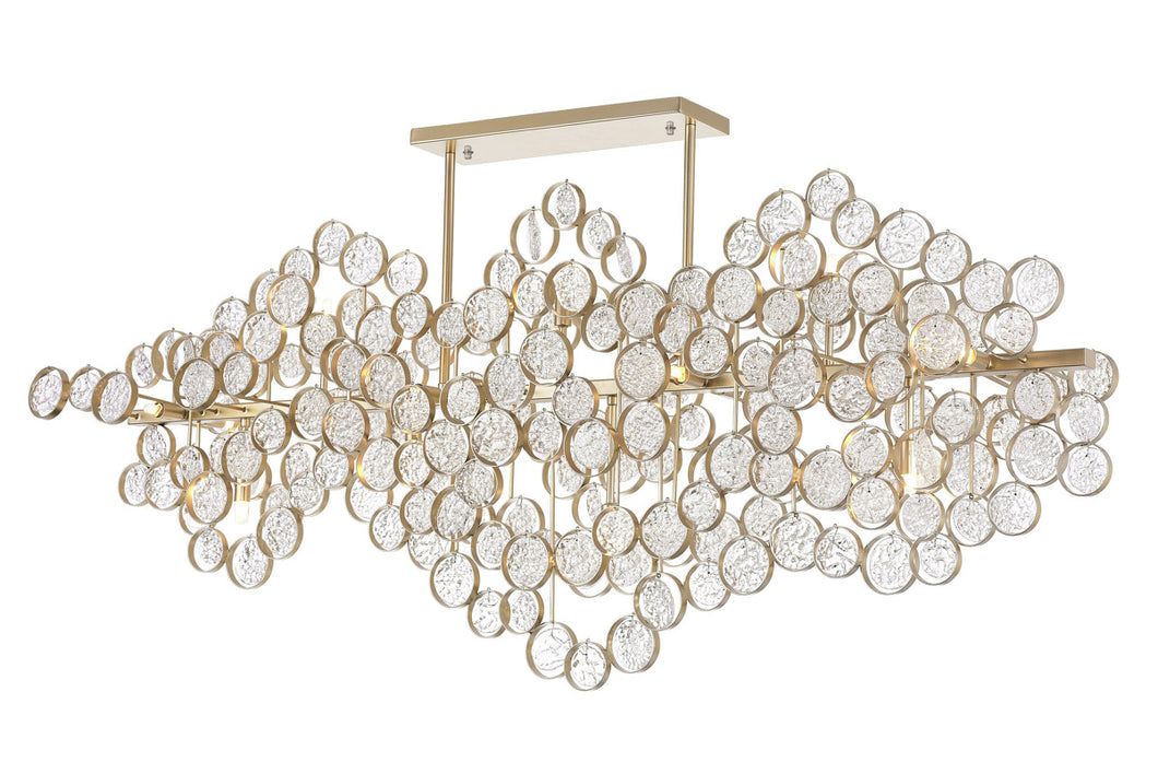 15 Light Chandelier with Gold Leaf Finish