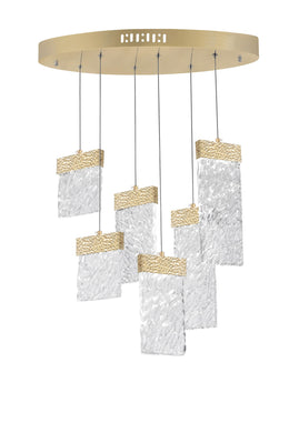 LED Chandelier with Gold Leaf Finish