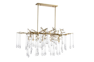 10 Light Chandelier with Gold Leaf Finish