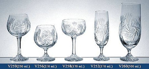 Set of 5 Lead Crystal Stemware