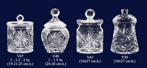 Set of 4 Lead Crystal Cookie Jars