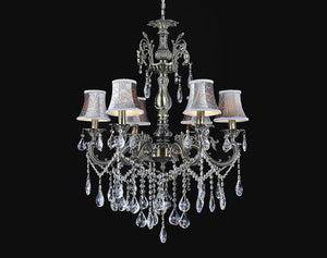 6 Light Up Chandelier with Antique Brass finish
