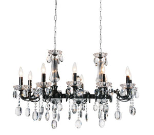 10 Light Up Chandelier with Black finish