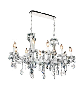 10 Light Up Chandelier with Pearl White finish