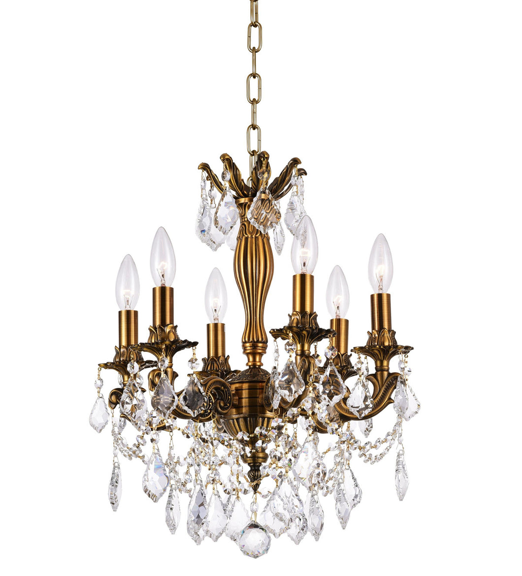 6 Light Up Chandelier with French Gold finish