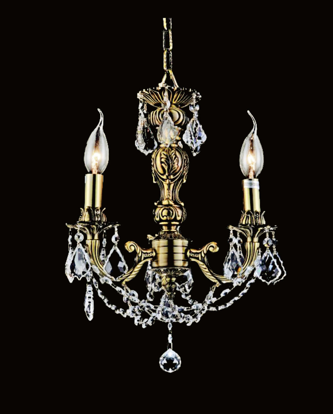 3 Light Up Chandelier with French Gold finish