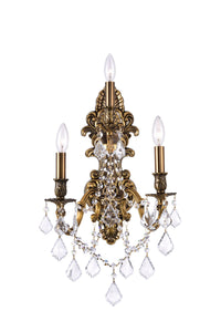 3 Light Wall Sconce with French Gold finish