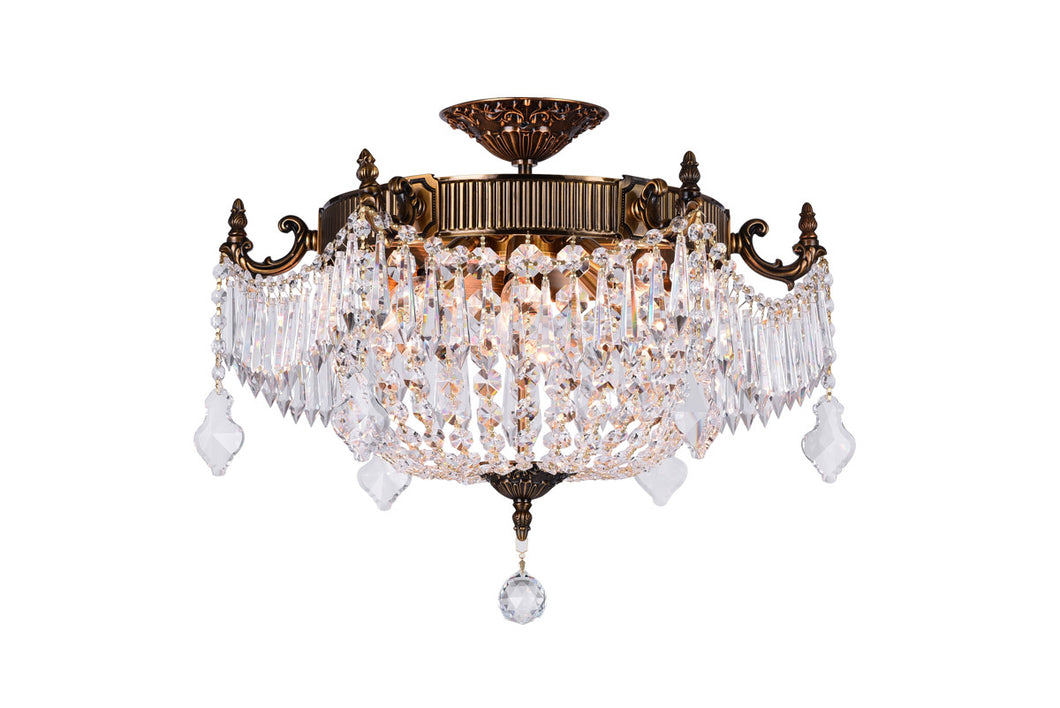 6 Light Bowl Flush Mount with French Gold finish