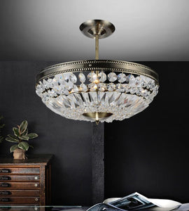 4 Light Down Chandelier with Antique Brass finish
