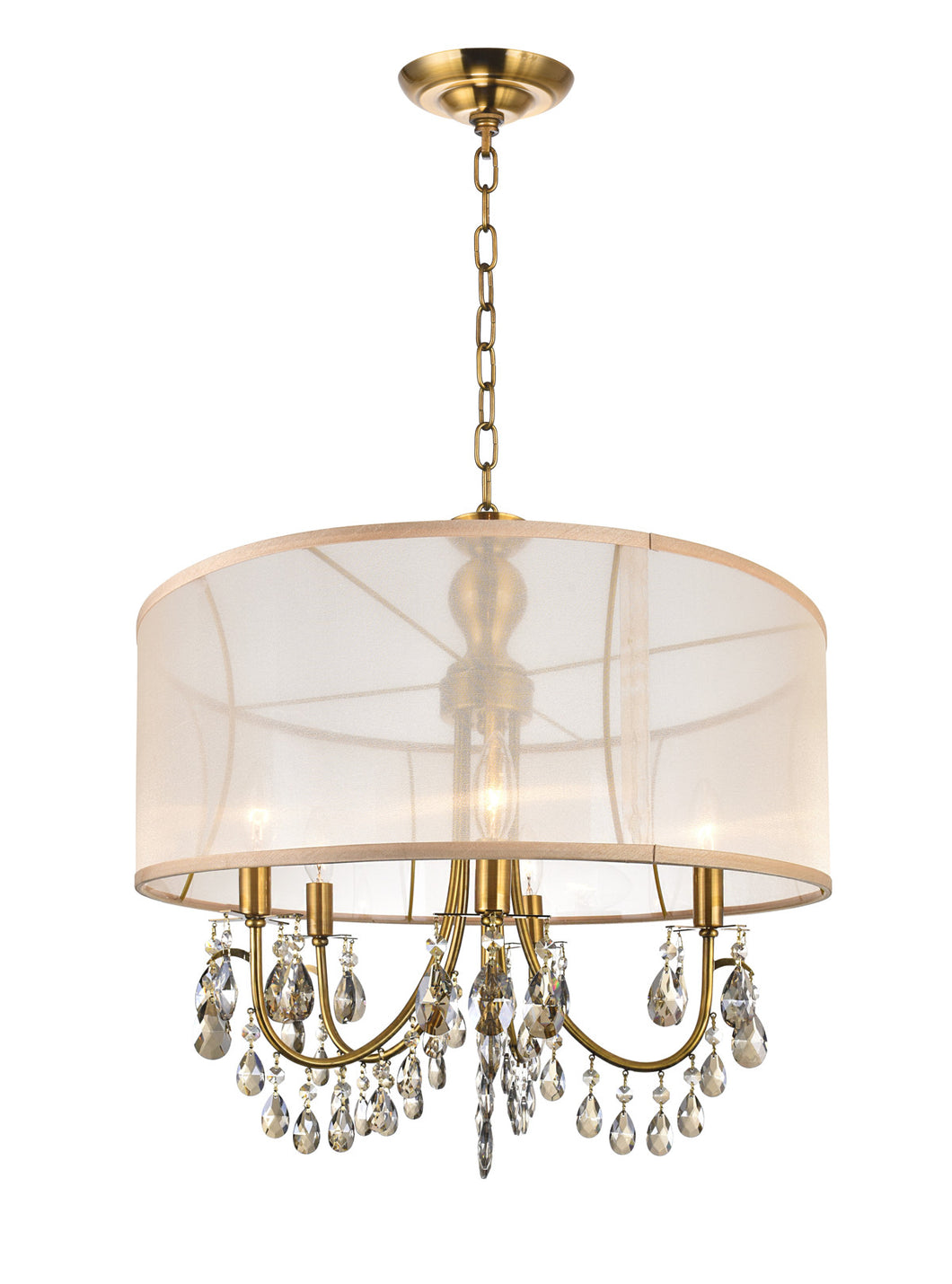 5 Light Drum Shade Chandelier with French Gold finish