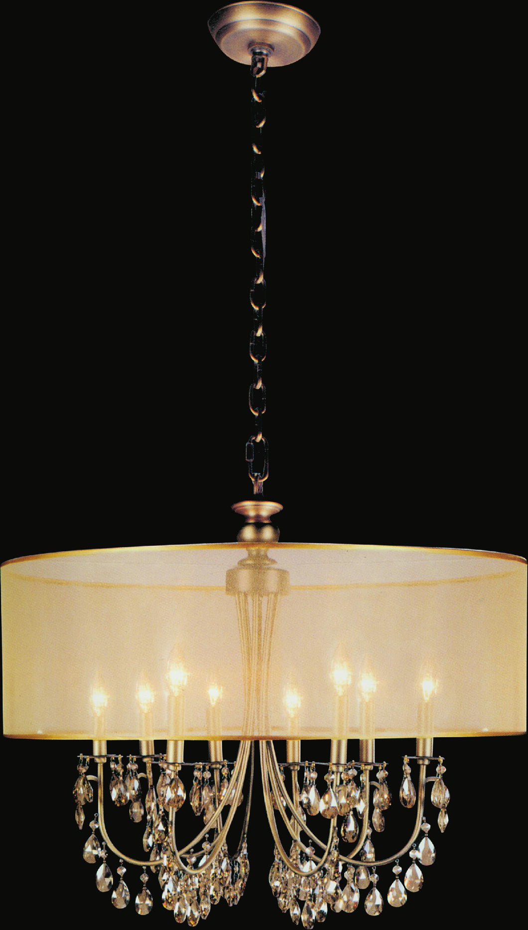 8 Light Drum Shade Chandelier with French Gold finish