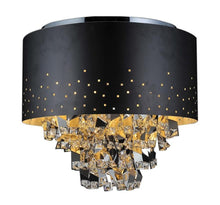 Load image into Gallery viewer, 5 Light Drum Shade Flush Mount with Black finish