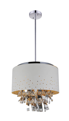 6 Light Drum Shade Chandelier with White finish