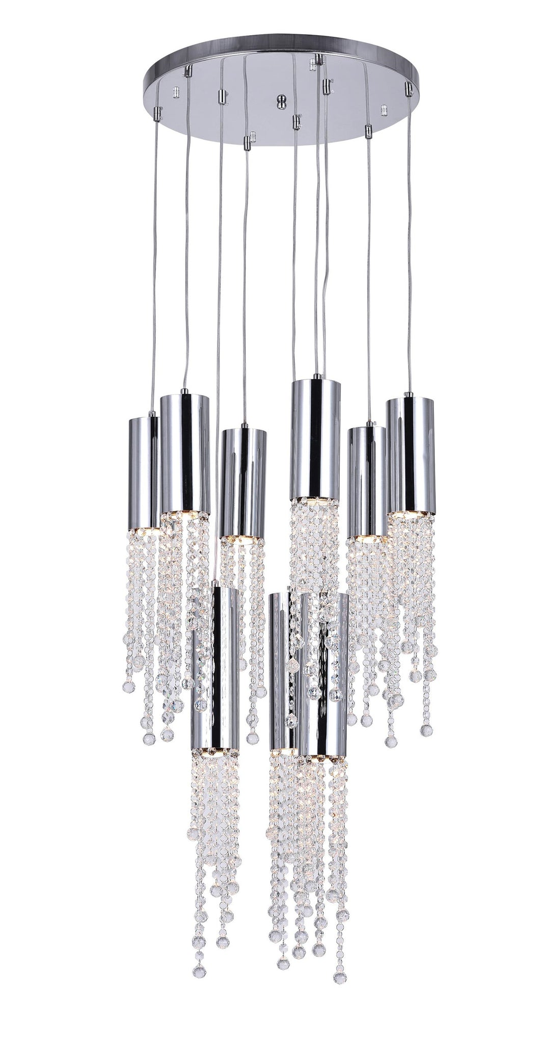 9 Light Multi Light Pendant with Chrome finish