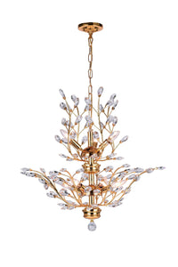 9 Light  Chandelier with Gold finish