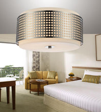 Load image into Gallery viewer, 2 Light Drum Shade Flush Mount with Satin Nickel finish