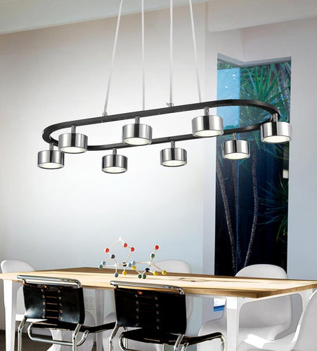 LED Down Pendant with Black & Chrome finish