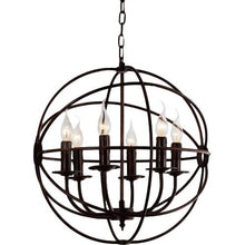 Load image into Gallery viewer, 6 Light Up Chandelier with Brown finish